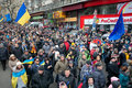 Crowd of demonstrators with national flags on anti government demonstration paralyzed traffic during the pro european protest kyiv Royalty Free Stock Photo