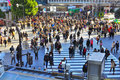 Crowd disperses at zebra crossing in busy street Royalty Free Stock Photo