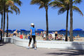 Crowd enjoying spring break fort lauderdale florida march many people relaxing and sun tanning on the public beach near the end of Stock Photo