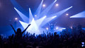 Crowd in front of the stage at the rock`n`roll gig Royalty Free Stock Photo