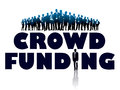 Crowd funding of businesspeople and large words Royalty Free Stock Images