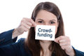 Crowd funding form of financial investment isolated business woman holding a sign with crowdfunding Stock Images