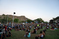 Crowd hangs out on the lawn at MayJah RayJah Concert Royalty Free Stock Photo