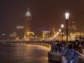 Crowd at illuminated Bund Boulevard, Shanghai, China Royalty Free Stock Photo