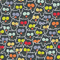 Crowd of owls cute and crazy seamless pattern Stock Photo