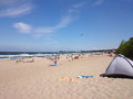 Crowd people on the beach gdansk brzezno poland summer vacation Stock Image