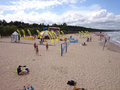 Crowd people on the beach gdansk brzezno poland summer vacation Stock Photo