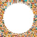 Crowd of people with circle empty copyspace in center vector background Royalty Free Stock Photo