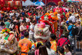 Crowd of people roams the street during celebration of Chinese New Year and Valentine's Day. Chinatown in Bangkok, Royalty Free Stock Photo