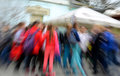 Crowd of people in the streets the city in motion blur Stock Photo