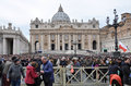 Crowd of people waiting for Pope Francis I in Vatican Royalty Free Stock Photo