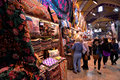 A crowd of people walking inside the Grand Bazaar in Istanbul, Turkey. Royalty Free Stock Photo