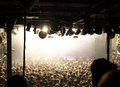 Crowd at a pop concert with white light Royalty Free Stock Photography