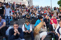 Crowd at the sacred heart church steps photo of people sitting on of outdoors in paris on many people come here to socialize Stock Image