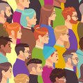 Crowd seamless pattern. Different people group, young men and women. Human heads in profile, population wallpaper vector
