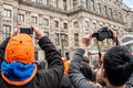 Crowd taking pictures at koninginnedag or queen s day was a national holiday in the kingdom of the netherlands until celebrated on Royalty Free Stock Image