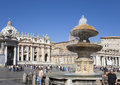 A crowd of tourists visit square before St. Peter's Cathedral, Rome, Italy on September 20, 2010 in Vatican, Rome, Italy Royalty Free Stock Photo