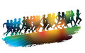 Crowd young people running sport illustration Stock Images