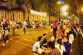 Crowded atmosphere ho chi minh youth lifestyle city viet nam dec at duc ba cathedral at xmas night under yellow lamp young people Royalty Free Stock Image