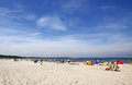 Crowded baltic beach in swinoujscie summer poland Stock Photo