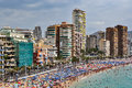 Crowded Beach Of Benidorm On A...