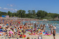 Crowded beach at neptun sea summer resort on august in neptun romania Royalty Free Stock Photos
