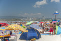 Crowded beach in summer Royalty Free Stock Photo