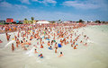 Crowded beach with tourists in costinesti romania summer is a famous summer destination for hundred of thousands of Royalty Free Stock Image