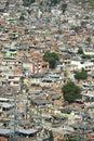 Crowded brazilian hillside favela shanty town rio de janeiro brazil spans the valley in complexo alemao Royalty Free Stock Photos