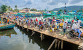 Crowded bridge at the harbour on phu quoc island across in vietnam Royalty Free Stock Image