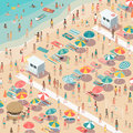 Crowded colorful beach Royalty Free Stock Photo
