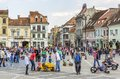 Crowded council square brasov romania unidentified people wander socialize and enjoy a sunny day in on march in th largest and the Stock Photos