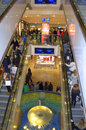 Crowded escalator at christmastime dresden germany Stock Images