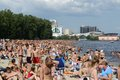 Crowded kiev beach on dnepr river Stock Photography