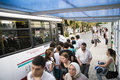 Crowded people in the bus station they are waiting for thebus and gettingon the bus september izmir turkey Royalty Free Stock Image