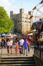 Crowded Rochester Castle Grounds Royalty Free Stock Photo