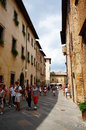 Crowded street in the center of san gimignano italy Stock Images