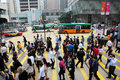 Crowded street in hong kong crossing downtown central china Royalty Free Stock Images