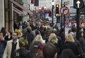Crowded street london regent full of people Royalty Free Stock Images