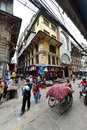 The crowded streets of kathmandu nepal september are often congested due to haotic traffic on september in Royalty Free Stock Photos