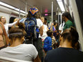 Crowded Subway Car Royalty Free Stock Photography