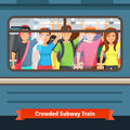 Crowded subway train young people standing close and holding to a hand rail flat style vector illustration Stock Photography