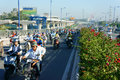 Crowded vietnam asia ctiy vehicle exhaust fumes ho chi minh city viet nam nov of motorcycle moving transfer on street in rush hour Stock Image