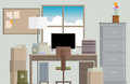 Crowded work desk vector illustration of a Stock Photo