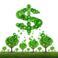 Crowdfunding investing and collective income concept as a group of green trees made of gears contributing to a dollar sign symbol Royalty Free Stock Photo