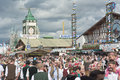Crowds in front of hacker pschorr tent munich germany – sept visitors at the st oktoberfest celebrating the festivities the Royalty Free Stock Images
