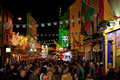 Crowds of people in the Latin Quarter at night Royalty Free Stock Photo