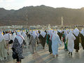 The crowds of pilgrims who come to visit mount uhud medina saudi arabia hill is one historical place in islamic history Royalty Free Stock Photos