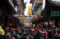 Crowds throng shanghai chenghuang miao temple over lunar new year china february pack a narrow lane inside s famous city god or Royalty Free Stock Photos