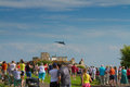 Crowds watch the avro vulcan bomber used by the british raf weston super mare somerset june nd thrilled at weston air festival Royalty Free Stock Image
